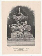 BOZZETTO DEL MONUMENTO A GAYARRE di M. BENLLIURE - ANTICA STAMPA