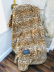 NEW MAGASCHONI LEOPARD ANIMAL PRINT THICK LUXURIOUS SUPER SOFT THROW $98.00