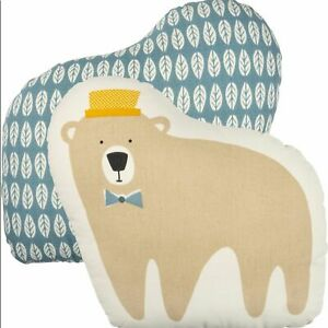 Primitives by Kathy Bear Pillow Baby Nursery Blue Cream Tan