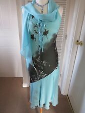 B.N.W.O.T (SAMPLE) 12 TURQUOISE/BROWN SP OCCASION DRESS & SCARF