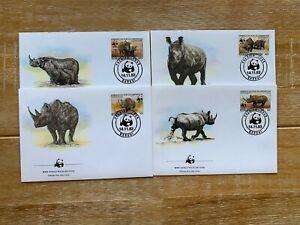 CENTRAL AFRICAN REPUBLIC 1983 FDC x 4 WWF RHINOCEROS RHINO