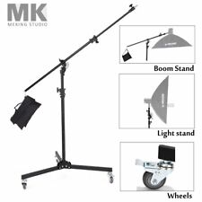 380cm 12ft Boom Arm Light Stand Two Way Adjustable Rotable + Sandbag Wheels Kit