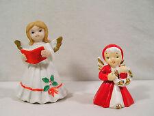 Lefton Christmas Porcelain Angel Figurine & Angel Bell Red Hooded Coat Japan