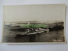 HMS IRON DUKE ROYAL NAVY DREADNOUGHT RPPC C.1925/1926 AT PORT SAID EGYPT1606/2