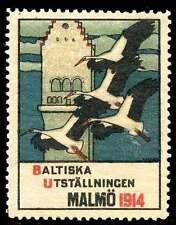 Sweden Poster Stamp - 1914 Baltic Exposition - Malmö - Artist: Ernst Norlind