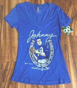 NWT! SUPER CUTE! Johnny Unitas Indianapolis Colts V Neck Women's T Shirt SMALL