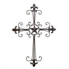 Wrought Iron Fleur De Lis Wall Cross Home Decor Wall Art NEW Christian Religious