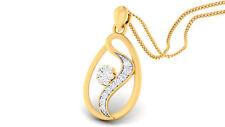 Pave 0.26 Cts Round Brilliant Cut Diamonds Pendant In Fine Hallmark 14Karat Gold