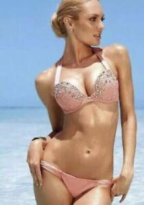 Victoria Secret Bombshell Add 2 Cups Pink Stones Bling Beaded Bikini  32B Med