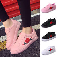 2018 Women's Fashion Leather Rose Flower Casual Lace Up Sneakers Trainer Shoes