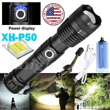 Bright 350000Lumens XHP50 LED Flashlight 18650 Zoom USB Rechargeable Torch USA