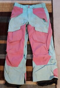 Burton Vent Pants Men's Small Touch the Sky (Blue)/Totally Pink Colorway (Rare)