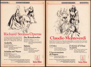 RICHARD STRAUSS OPERAS_/_CLAUDIO MONTEVERDI__Orig. 1980 Trade AD promo / poster