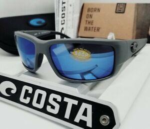 COSTA DEL MAR matte gray/blue mirror FANTAIL POLARIZED 580P sunglasses NEW