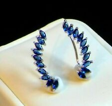 2 Ct Marquise Cut Blue Sapphire Womens Cuff/Stud Earrings 14K White Gold FN 925