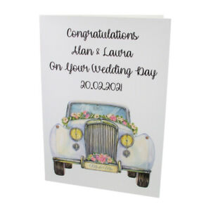 Personalised Congratulations On Your WEDDING DAY Greetings Card - Car