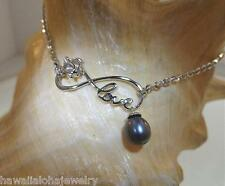 """Hawaiian Rhodium STER Silver Turtle Infinity Love FW Peacock Pearl Anklet 9-11"""""""