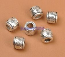 40pcs Tibetan Silver Charm Barrel Spacer Beads Accessories 6X7mm F3312