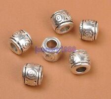 20pcs Tibetan Silver Charm Barrel Spacer Beads Accessories 6X7mm F3312