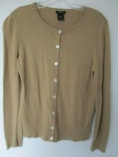 Ann Taylor Women's Size Petite Medium Cotton Long Sleeve Solid Brown Cardigan