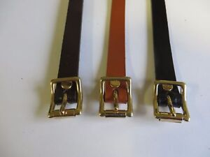 """UTILITY STRAP - REAL LEATHER - SOLID BRASS BUCKLE - 1/2"""" WIDE - CHOOSE LENGTH"""