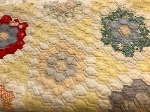 "Vintage Quilted Grandmother's Flower Garden Quilt ***Damaged-Cutter** *60"" X 72"""