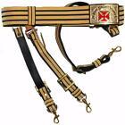 KNIGHTS TEMPLAR PAST GRAND COMMANDER BLACK & GOLD SWORD BELT - RED CROSS
