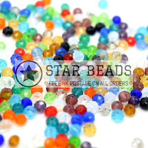 FACETED RONDELLE CRYSTAL GLASS BEADS MIXED - PICK SIZE