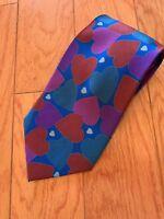 LILLIAN VERNON VALENTINE'S DAY HEARTS ON NAVY BLUE  Red TIE NECKTIE 100% SILK