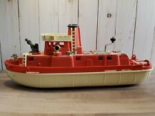 Vintage Ideal Plastics Firefighter Fire Boat Water Pumping Siren Mechanical Toy