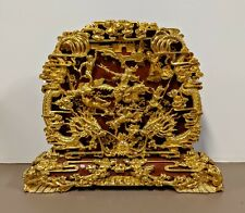 "Large 24"" x 20"" Chinese Carved Gold Gilt Wood Panel Table Screen - Battlefield"