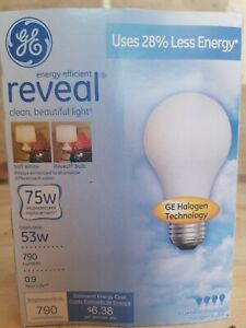 4 pack GE Reveal 75w 53w General Purpose A19 Halogen Bulb 790 lumens 67773