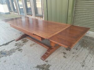Good Large Antique Style Solid Oak Extending Drawleaf Refectory Dining Table