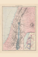Palestine with the Twelve Tribes of Israel Historical Antique Style Map Poster 1