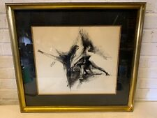 Vintage Original Ink on Paper Framed Dancer Scene Signed N. S. R.