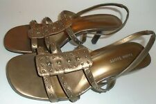 "Womens Shoes Metallic Bronze Strappy 2"" High Heel Sandals Size 8.5 M Leather"