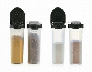 Tupperware Large Spice Shakers 1 cup each Black Seals / Lids