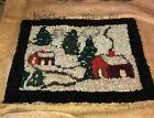 Antique Punch Needlework Folk Art Rug -Miniature Handcrafted Wool - Amazing!