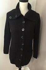 Banana Republic Women's Black Ribbed Tunic Button Front Wool Cardigan Size Large