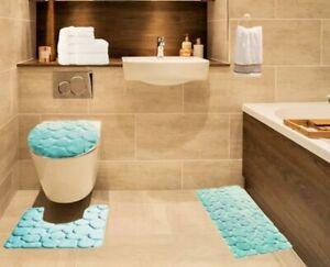 3PC BATHROOM SET SOFT MEMORY FOAM  BATH MAT CONTOUR RUG LID COVER SOLID  ROCK