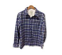 LL Bean Women's Medium Fleece Lined Button Flannel Shirt Long Sleeve Blue Plaid