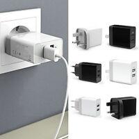 3.1A AMP Fast Dual Twin 2 Port USB Charger UK US EU Mains Wall Plug Adapter