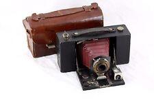 Antique Kodak No. 2, modèle B, pliant poche Brownie, rouge à soufflet + étui d'origine