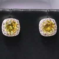 Classic 2 Ct Yellow Citrine Diamond Halo Stud Earring Women Jewelry 14K