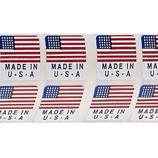 50 Little 1/2 inch Square Red White Blue Made In The Usa Flag Sticker Label Tags