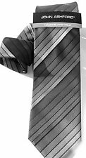 NEW Mens Tie Necktie Black Gray Stripe by John Ashford T1507