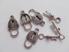 5 set chiusure AT chiave  colore argento tibet  x bracciale,collana bigiotteria