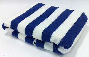 100% COTTON BLUE STRIPED POOL / BEACH TOWEL 75X150cm LARGE STRIPE TOWELS