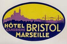Hotel Bristol Canebière MARSEILLE France * Old Luggage Label Kofferaufkleber