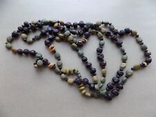 Old Costume Jewellery Jewelry Necklace Beads Peas Green Brown LONG 52 Inch d